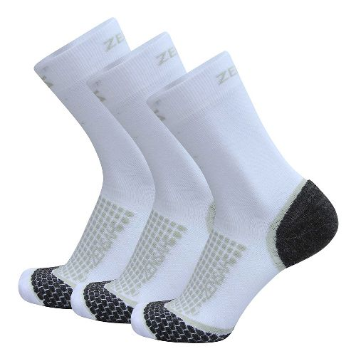 Zensah Grit Mini Crew Running 3 Pack Socks - White M