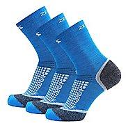 Zensah Grit Mini Crew Running 3 Pack Socks - Sporty Blue S