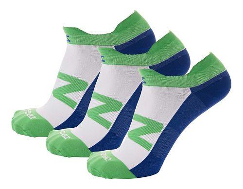 Zensah Invisi Running 3 Pack Socks - Green/Navy S