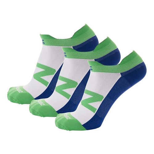 Zensah Invisi Running 3 Pack Socks - Green/Navy S