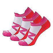 Zensah Invisi Running 3 Pack Socks - Hot Pink/Neon Orange L