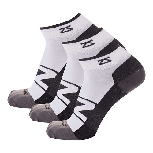 Zensah Peek Running 3 Pack Socks - White/Black S