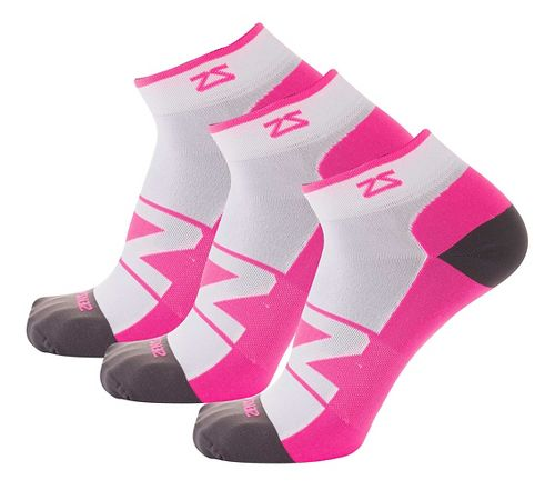 Zensah Peek Running 3 Pack Socks - White/Neon Pink M