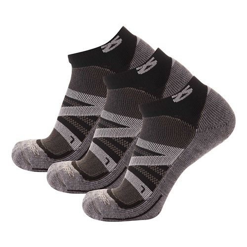Zensah Wool Running 3 Pack Socks - Cloud Grey M