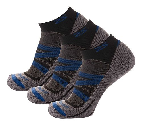 Zensah Wool Running 3 Pack Socks - Navy S