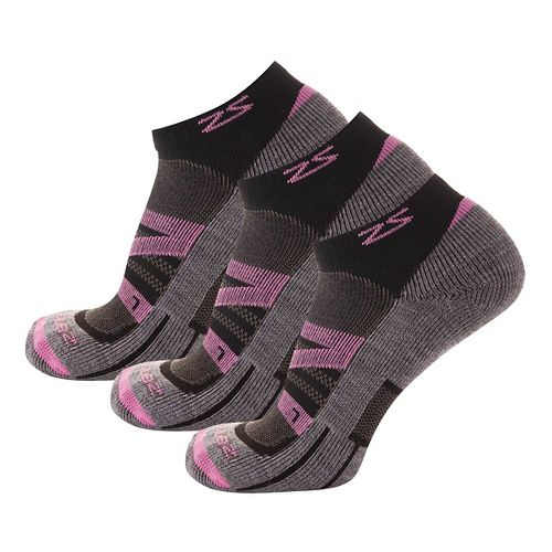 Zensah Wool Running 3 Pack Socks - Pink S
