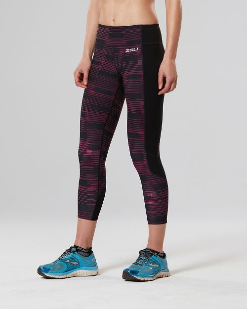 Womens 2XU Fitness 7/8 with Storage Compression Tights - Black/Pink XL
