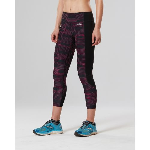 Womens 2XU Fitness 7/8 with Storage Compression Tights - Black/Pink XS
