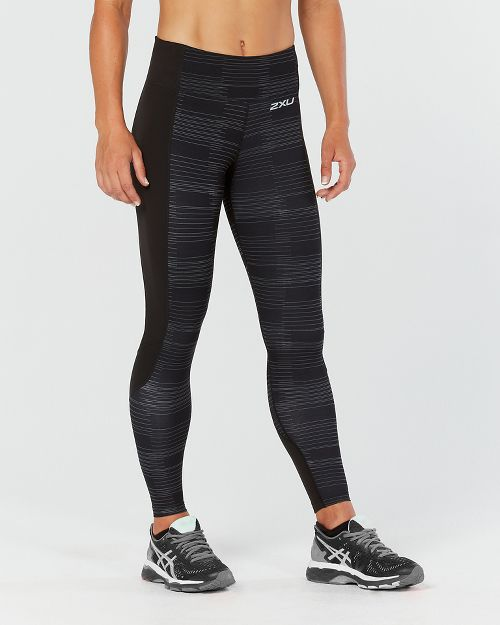 Womens 2XU Fitness with Storage Compression Tights - Black/Charcoal S