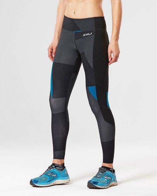 Womens 2XU Fitness with Storage Compression Tights - Black/Dark Char XL