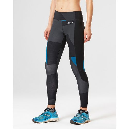 Womens 2XU Fitness with Storage Compression Tights - Black/Dark Char XS