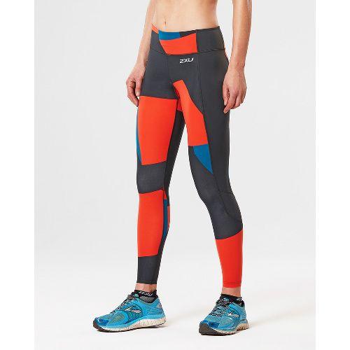 Womens 2XU Fitness with Storage Compression Tights - Dark Char/Tomato L
