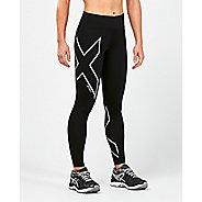 Womens 2XU Heat Mid-Rise Compression Tights - Black/Silver XS