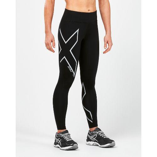 Womens 2XU Heat Mid-Rise Compression Tights - Black/Silver L