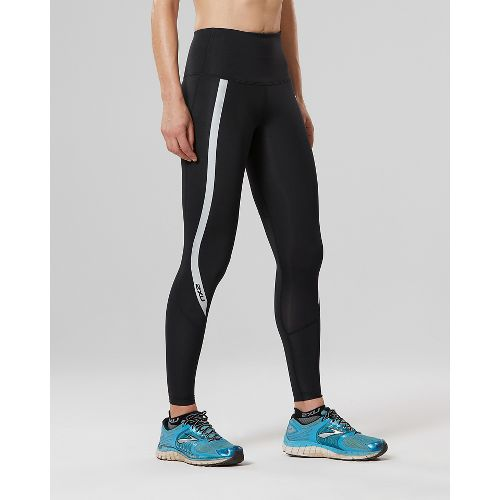 Womens 2XU Hi-Rise Compression Tights - Black/Silver XS