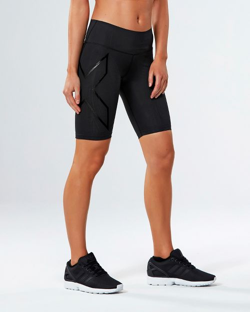 Womens 2XU MCS Mid-Rise Compression & Fitted Shorts - Black/Nero L