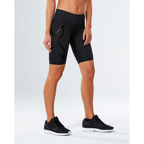 Womens 2XU MCS Mid-Rise Compression & Fitted Shorts - Black/Nero M