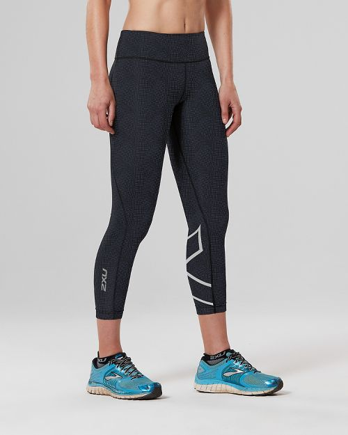 Womens 2XU Mid-Rise 7/8 with Storage Compression Tights - Dark Char/Blue S