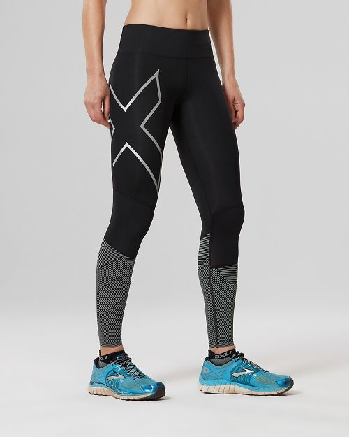 Womens 2XU Mid-Rise Reflect Compression Tights - Black/Silver XL