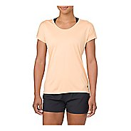 Womens ASICS Capsleeve Short Sleeve Technical Tops - Apricot Ice Heather XL