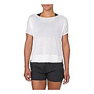 Womens ASICS Crop Short Sleeve Technical Tops - Brilliant White XL