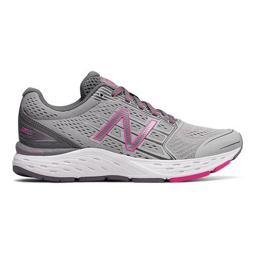 Womens New Balance 680v5 Running Shoe - Silver/Gunmetal/Pink 10.5