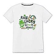Mens Brooks St Pattys T-Shirt Short Sleeve Technical Tops - White M