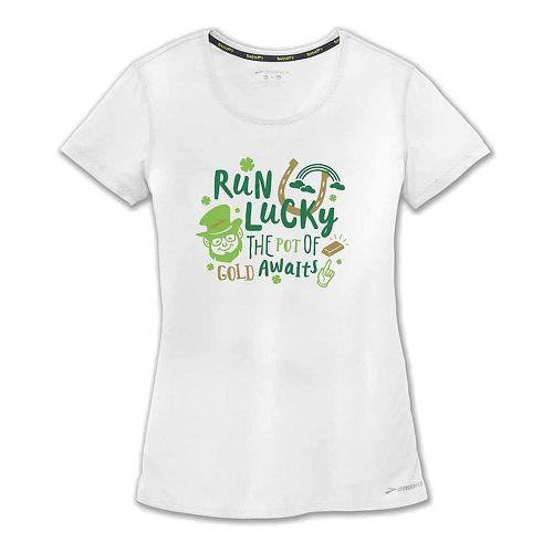Womens Brooks St Pattys T-Shirt Short Sleeve Technical Tops - White XL