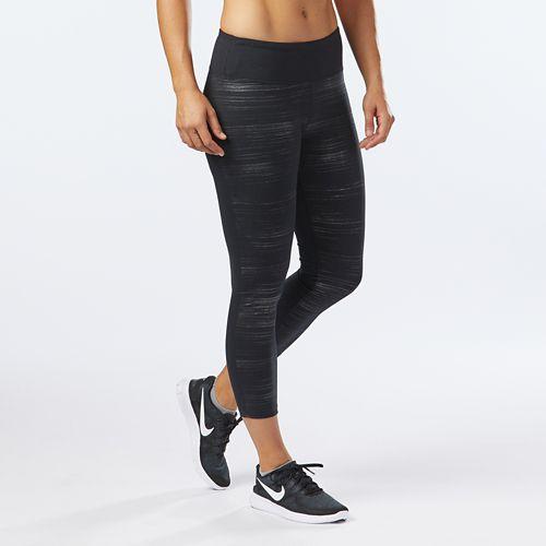 Womens R-Gear Leg Up Metallic Crop II Tights & Leggings Pants - Black Brush Stroke M