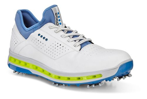 Mens Ecco Golf Cool 18 GTX Cleated Shoe - White/Dynasty Blue 45