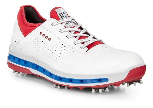 Mens Ecco Golf Cool 18 GTX Cleated Shoe - White/Tomato 44