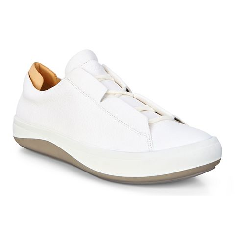 Mens Ecco Kinhin Low Casual Shoe - White/Veg Tan 45
