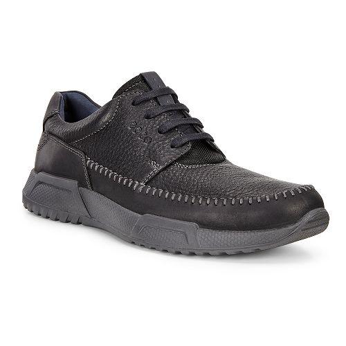 Mens Ecco Luca Moc Toe Tie Casual Shoe - Black/Black/Marine 45