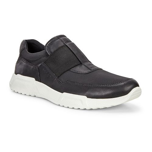 Mens Ecco Luca Elastic Slip On Casual Shoe - Black/Black 42