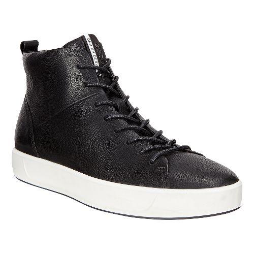 Mens Ecco Soft 8 High Top Casual Shoe - Black/White 46