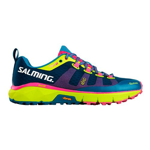 Womens Salming Trail 5 Trail Running Shoe - Blue/Safety Yellow 10