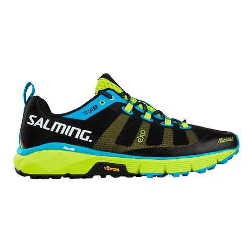 Mens Salming Trail 5 Running Shoe - Black/Lime 7.5