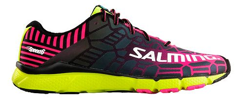 Womens Salming Speed 6 Running Shoe - Pink/Safety Yellow 8