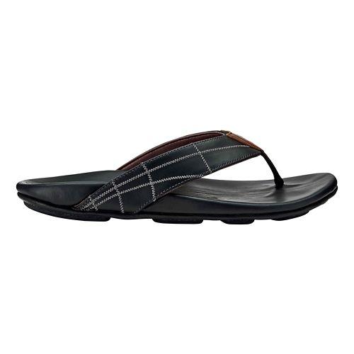 Mens OluKai Hokule'a Kia Sandals Shoe - Black/Black 8