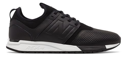 Mens New Balance 247 Leather Casual Shoe - Black/White 10.5