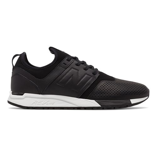 Mens New Balance 247 Leather Casual Shoe - Black/White 8.5