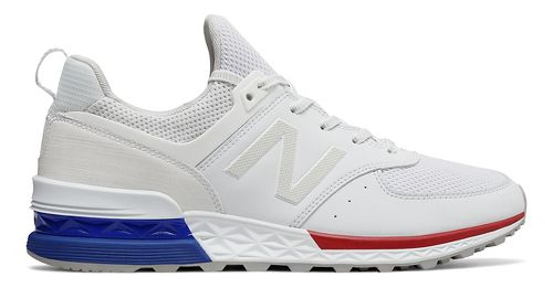 Mens New Balance 574 Sport Casual Shoe - White/Blue 10