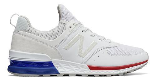 Mens New Balance 574 Sport Casual Shoe - White/Blue 11.5