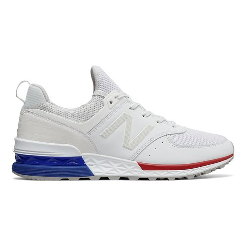 Mens New Balance 574 Sport Casual Shoe - White/Blue 8.5