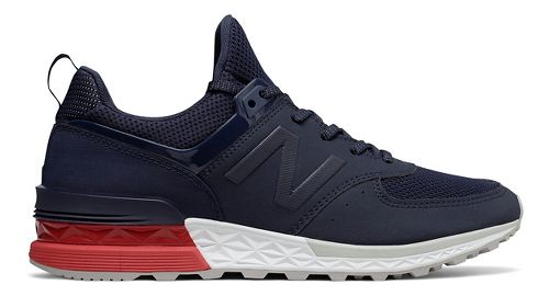 Mens New Balance 574 Sport Casual Shoe - Navy/Red 8