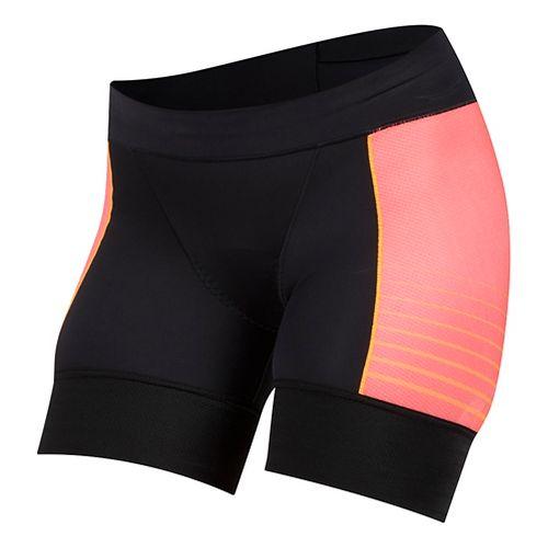 Womens Pearl Izumi Elite Pursuit Tri Half Unlined Shorts - Black/Orange Pop S