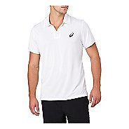 Mens ASICS Classic Polo Short Sleeve Non-Technical Tops - Brilliant White L