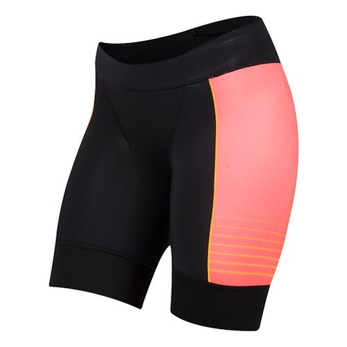 Womens Pearl Izumi Elite Pursuit Tri Unlined Shorts - Black/Orange Pop XL