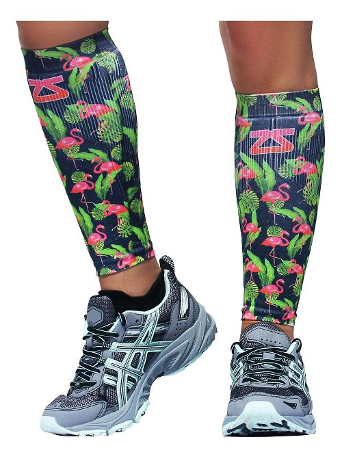 Zensah Tropical Print Compression Leg Sleeves Injury Recovery - Flamingo L/XL