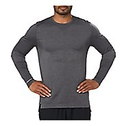 Mens ASICS Seamless Long Sleeve Technical Tops - Dark Grey Heather M
